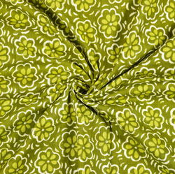 Green White Floral Block Print Cotton Fabric-28393