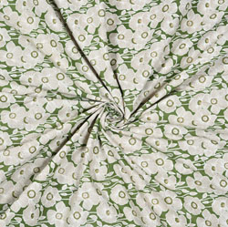 Green White Floral Cotton Fabric-28579