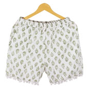 Green White Flower Cotton Block Print Short-14667