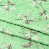Green White Flower Jam Cotton Fabric-15256