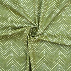 Green White Ikat Cotton Fabric-28614