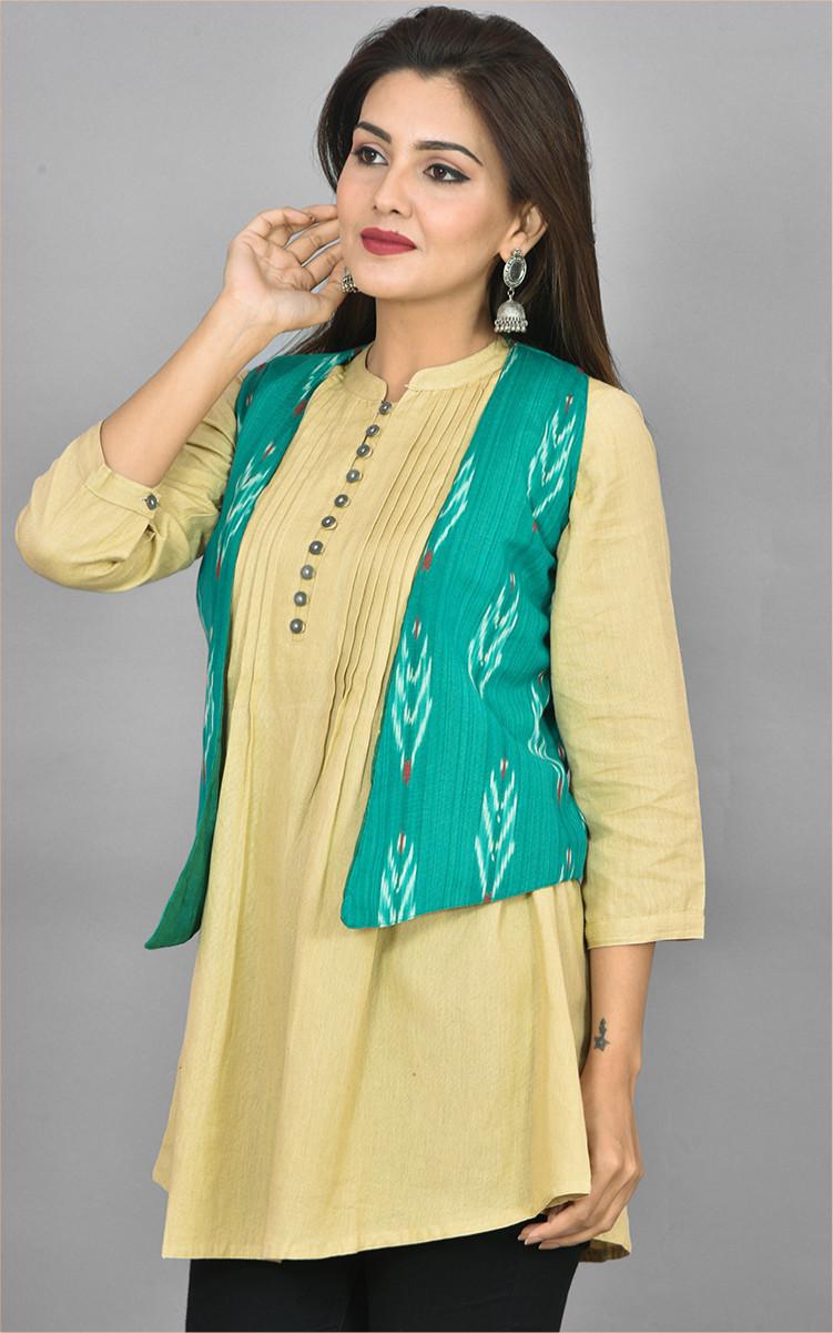 Green White Ikat Cotton Koti Jacket-36278