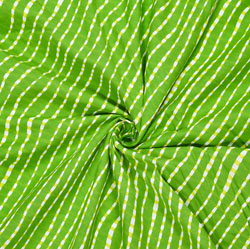 Green White Leheriya Cotton Fabric-28063