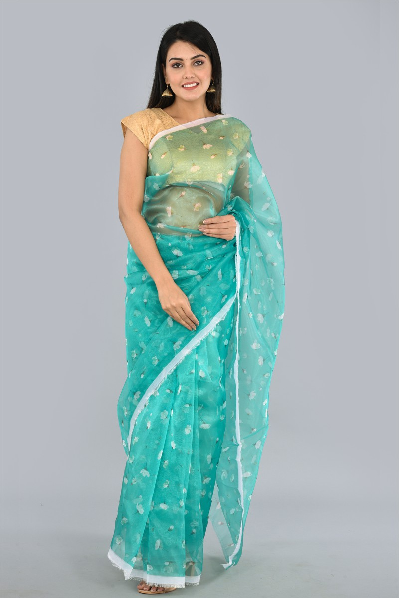 Green White Organza Digital Printed Saree-36187