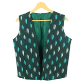 Green White Sleeveless Ikat Cotton koti jacket-12244