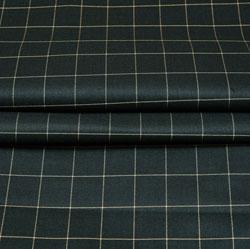 Green White Checks Wool Fabric-90217