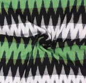 Green White and Black 3D Ikat Cotton Fabric-12325