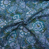Green-White and Blue Floral Pattern Block Print Cotton Fabric-14192