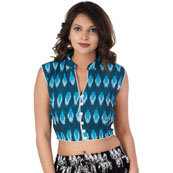 Green-White and Blue Sleeveless Cotton Ikat Blouse-30225