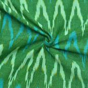 Green-White and Blue Zig-Zag Pattern Ikat Fabric-12012