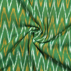 Green White and Orange Ikat Cotton Fabric-11011