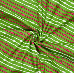Green White and Pink Leheriya Cotton Fabric-28120