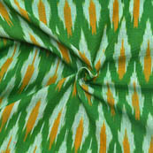 Green-White and Yellow Unique Pattern Ikat Fabric-12020