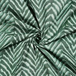 Green White zigzag Print Cotton Fabric-28550
