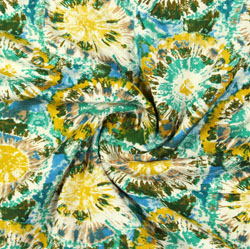 Green Yellow Block Print Rayon Fabric-16154