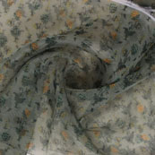 Green Yellow Digital Organza Silk Fabric-51575