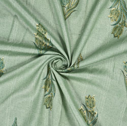 Green Yellow Floral Rayon Fabric-16233