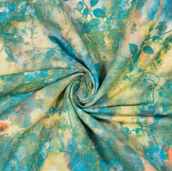 Green Yellow Tie-Dye Rayon Fabric-16232