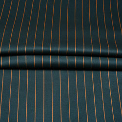 Green Yellow Stripe Wool Fabric-90181