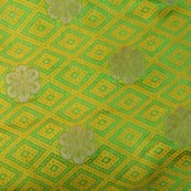 Green-Yellow and Golden Flower Pattern Chanderi Fabric-4377