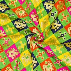 Green Yellow and Golden Sparrow Banarasi Silk Fabric-12582