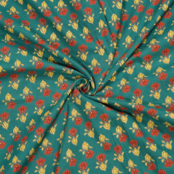 Green Yellow and Orange Floral Cotton Fabric-28083