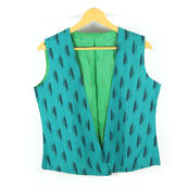 Green and Black Sleeveless Ikat Cotton Koti Jacket -12238