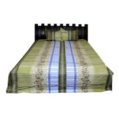 Green and Blue  Print Cotton Double Bed Sheet -0KG13