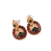 Green and Dark Red Stone Circular Design with Golden Polish Earring for Women