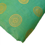 Green and Golden Circular Design Brocade Silk Fabric-8160