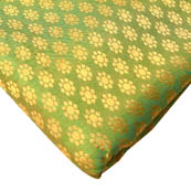 Green and Golden Circular Flower Brocade Silk Fabric-8244