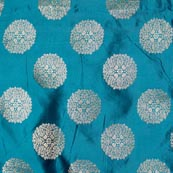 Green and Golden Circular Pattern Brocade Fabric-4270