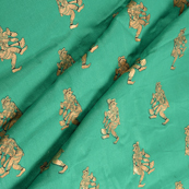 Green and Golden Dancing Mudra Jam Cotton Silk Fabric-75128