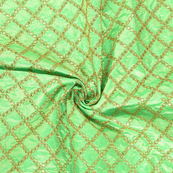 Green and Golden Embroidery Paper Silk Fabric-60491