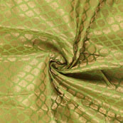 Green and Golden Floral Brocade Silk Fabric-8918