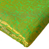 Green and Golden Floral Design Brocade Silk Fabric-8194