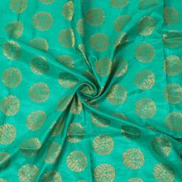 Green and Golden Floral Design Brocade Silk Fabric-8351