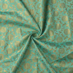 Green and Golden Floral Design Silk Brocade Fabric-8383