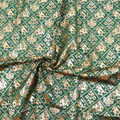 Green and Golden Floral Pattern Brocade Silk Fabric-8323