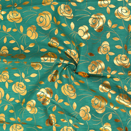Green and Golden Floral Pattern Brocade Silk Fabric-8354