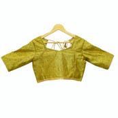 Green and Golden Floral Silk Brocade Blouse-30099