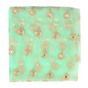 Green and Golden Flower Embroidery Net Fabric-60895