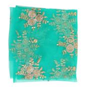 Green and Golden Flower Flower Embroidery Net Fabric-60887
