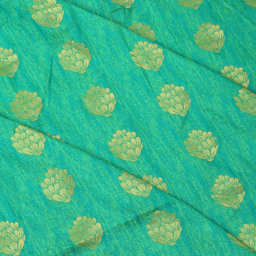 Green and Golden Flower Patten Brocade Silk Fabric-8335