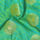Green and Golden Flower Shape Brocade Silk Fabric-8008