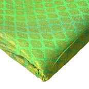 Green and Golden Big Leaf Pattern Brocade Silk Fabric-8217