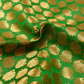Green and Golden Paisley Design Brocade Silk Fabric-5399