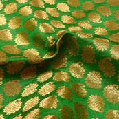 Green and Golden Paisley Design Brocade Silk Fabric-5399