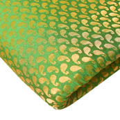 Green and Golden Silver Mix Paisley Design Brocade Silk Fabric-8223