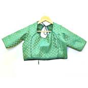 Green and Golden Paisley Silk Brocade Blouse-30088